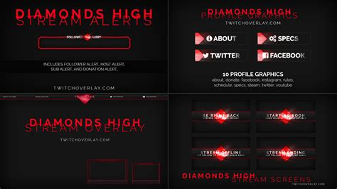 Diamonds High - Free Stream Package by Twitch Overlay