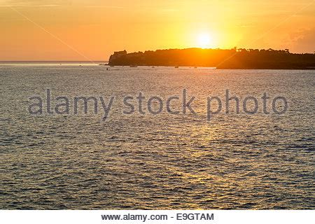 Sunrise over the Mediterranean Sea in Cannes, France Stock