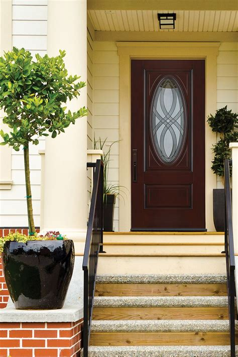 Get the look and feel of a sturdy wood front door with the