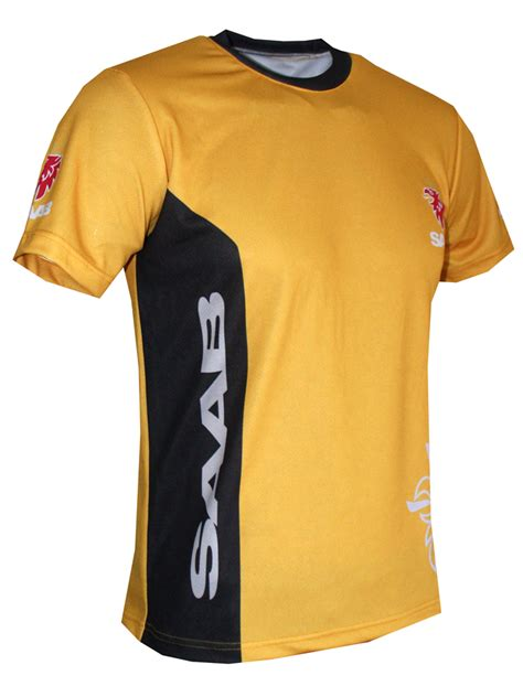 Saab t-shirt with logo and all-over printed picture - T