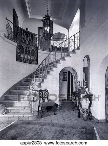 1920S 1930S Entrance Foyer With Staircase Italiante